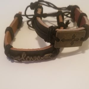 Jewelry - Black Leather bracelets for men and women